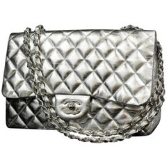 Chanel (Rare) Metallic  Classic Double Flap 226586 Silver Leather Shoulder Bag