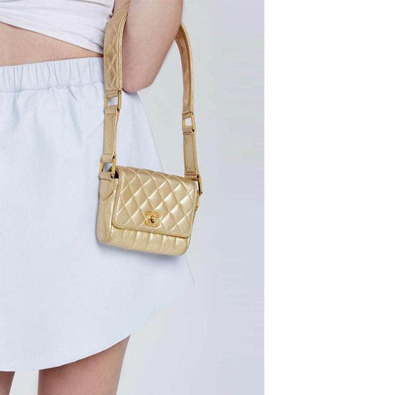 Women's Chanel Rare Metallic Gold Micro Mini Quilted Classic Flap Bag  For Sale