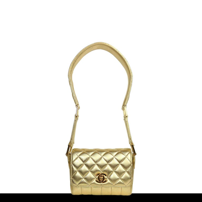 Chanel Rare Metallic Gold Micro Mini Quilted Classic Flap Bag  For Sale 1