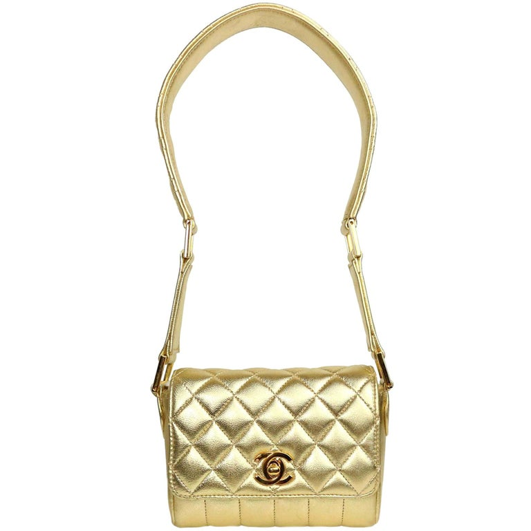 Chanel Rare Metallic Gold Micro Mini Quilted Classic Flap Bag  For Sale