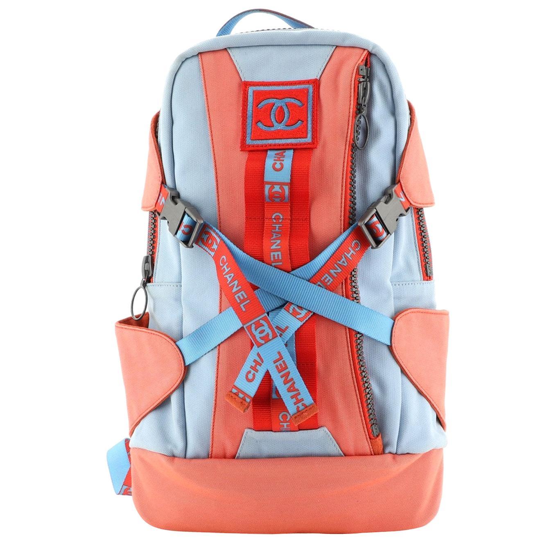 Chanel Rare Nylon Light Blue & Orange Orange Spring 2002 Runway Sport Backpack