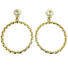 Chanel Rare Oversize Large Gold Pearl Charm Dangle Evening Hoop Earrings