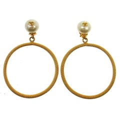 Chanel Rare Oversize Large Gold Pearl Charm Dangle Evening Hoop Earrings in Box