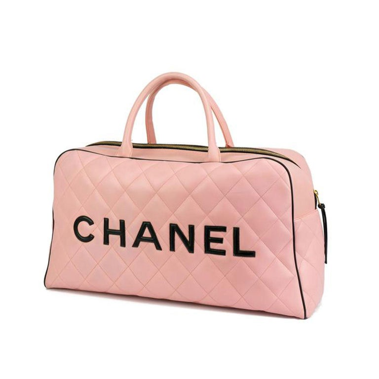 Chanel Rare Pink Vintage 1990 Weekend Duffel Overnight Duffle Tote  1992 {VINTAGE 29 Years} White lamb