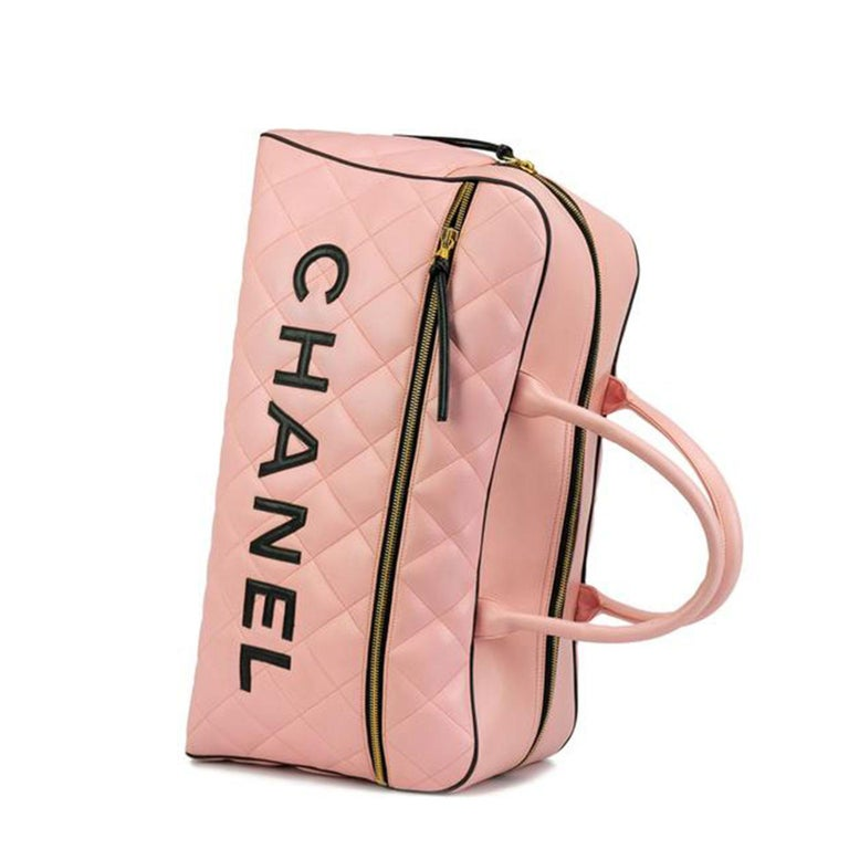 Women's or Men's Chanel Rare Pink Vintage 1990 Weekend Duffel Overnight Duffle Tote  For Sale