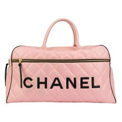 Chanel Rare Pink Vintage 1990 Weekend Duffel Overnight Duffle Tote