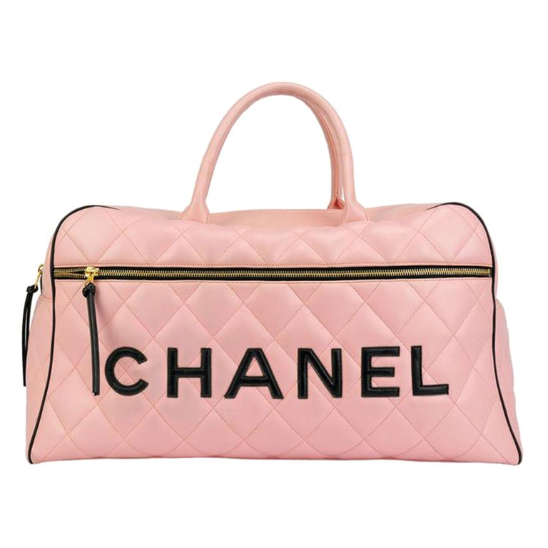 Chanel Rare Pink Vintage 1990 Weekend Duffel Overnight Duffle Tote  For Sale