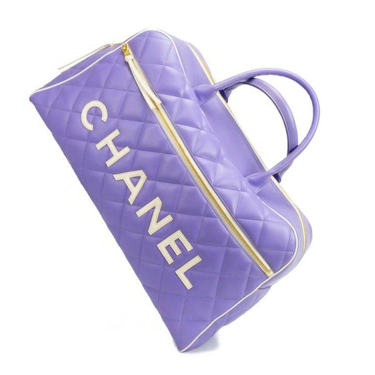 Chanel Rare Purple Vintage 1990 Weekend Duffel Overnight Duffle Tote  1992 {VINTAGE 29 Years} White lamb