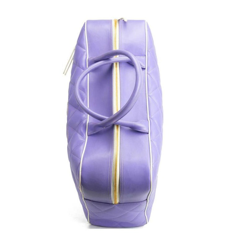 Chanel Rare Purple Vintage 1990 Weekend Duffel Overnight Duffle Tote In Good Condition For Sale In Miami, FL