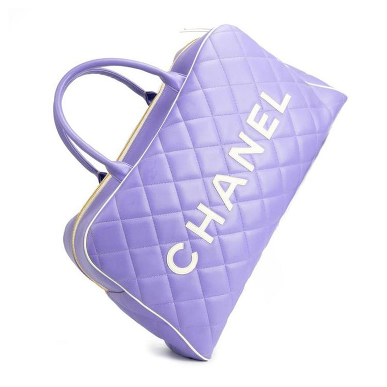 Women's or Men's Chanel Rare Purple Vintage 1990 Weekend Duffel Overnight Duffle Tote For Sale