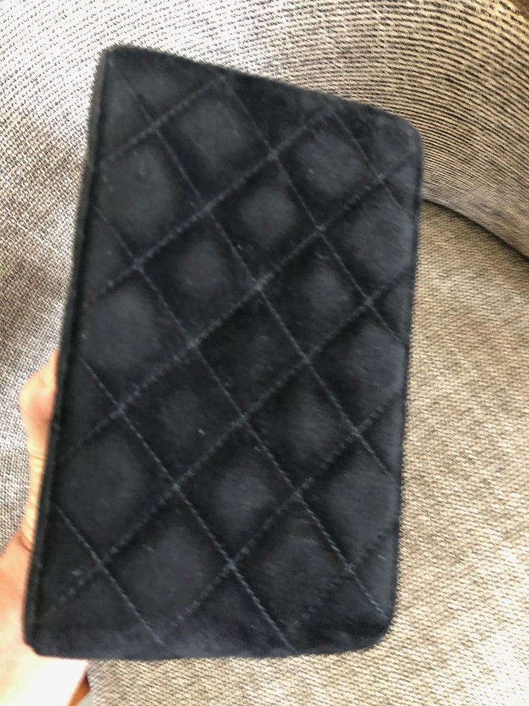 Chanel Rare Quilted Sueded Box Bag with Faux Tortoise Top and Chain For Sale 5