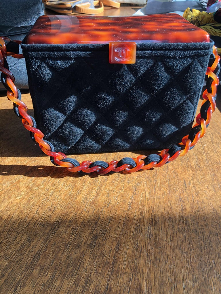 Black Chanel Rare Quilted Sueded Box Bag with Faux Tortoise Top and Chain For Sale