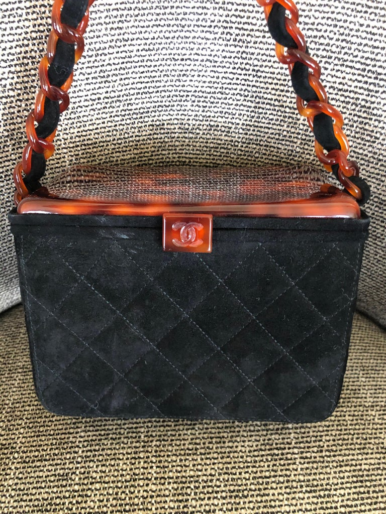 Women's or Men's Chanel Rare Quilted Sueded Box Bag with Faux Tortoise Top and Chain For Sale