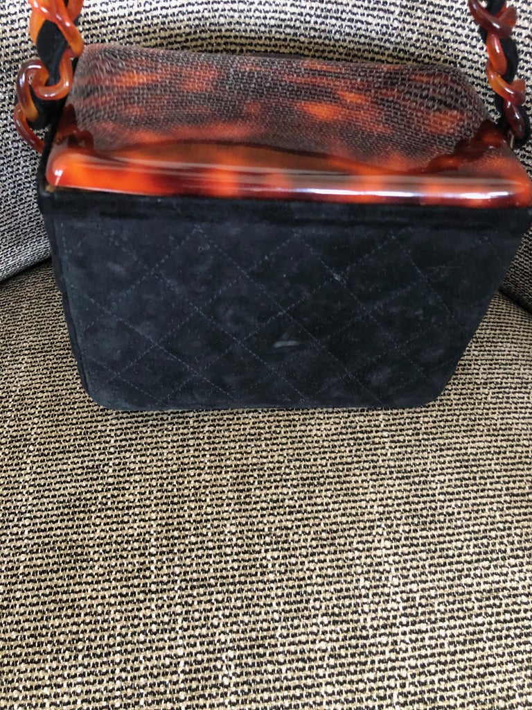 Chanel Rare Quilted Sueded Box Bag with Faux Tortoise Top and Chain For Sale 4