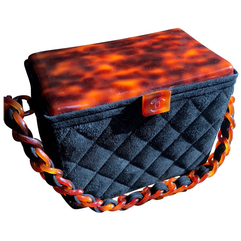 Chanel Rare Quilted Sueded Box Bag with Faux Tortoise Top and Chain For Sale