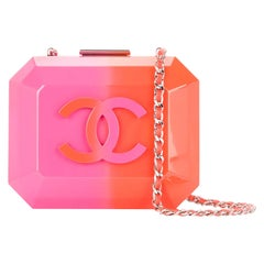 Chanel Rare Runway Pink & Orange Ombre Resin Plexiglass Brick Clutch Minaudière