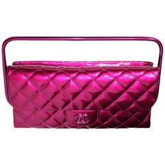 Chanel Rare Runway Quilted Classic Flap Bag Patent Hot Pink Fuschia Clutch