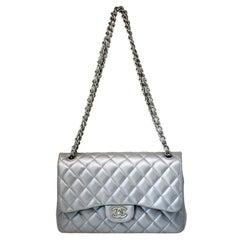 Chanel Rare Silver Lambskin Jumbo Double Flap Handbag