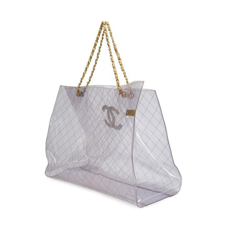 Chanel Rare Vintage 1990s Xxxl Oversized See Through Naked Gold Accent Pvc Tote In Good Condition For Sale In Miami, FL