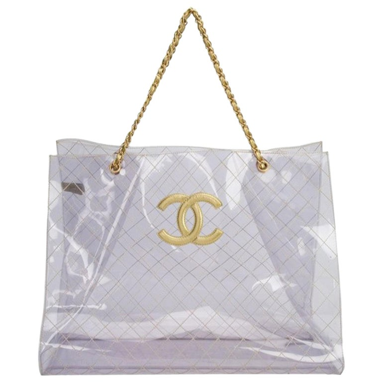 Chanel Rare Vintage 1990s Xxxl Oversized See Through Naked Gold Accent Pvc Tote For Sale