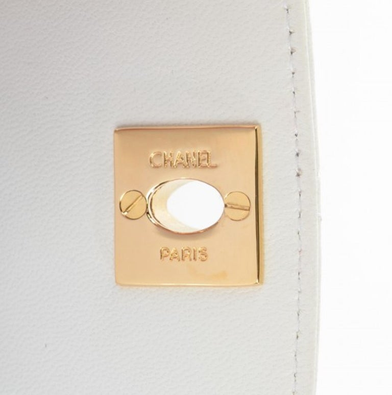 502500ab Chanel Rare Vintage 90s Mini Fanny Pack Waist Belt Bum Bag Pouch Off White  Cream