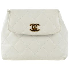 Chanel Rare Vintage 90s Mini Fanny Pack Waist Belt Bum Bag Pouch Off White Cream