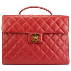 Chanel Rare Vintage 90s Red Caviar Executive Briefcase Laptop Flap Bag