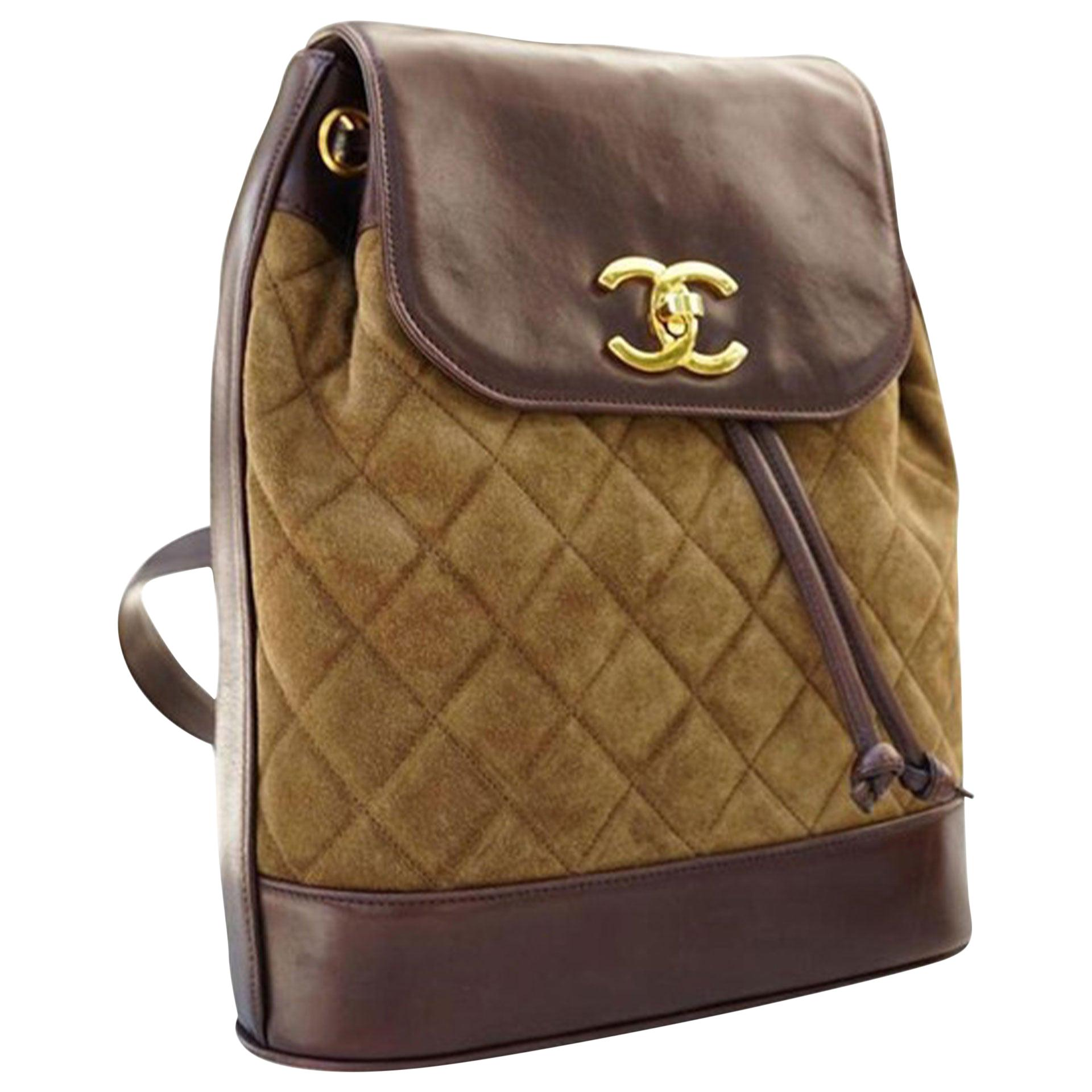 Chanel Rare Vintage 90s Suede Lambskin Olive and Brown Leather Backpack