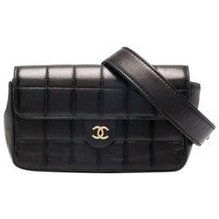Chanel Rare Vintage Black Lambskin Waist Belt Bag Fanny Pack