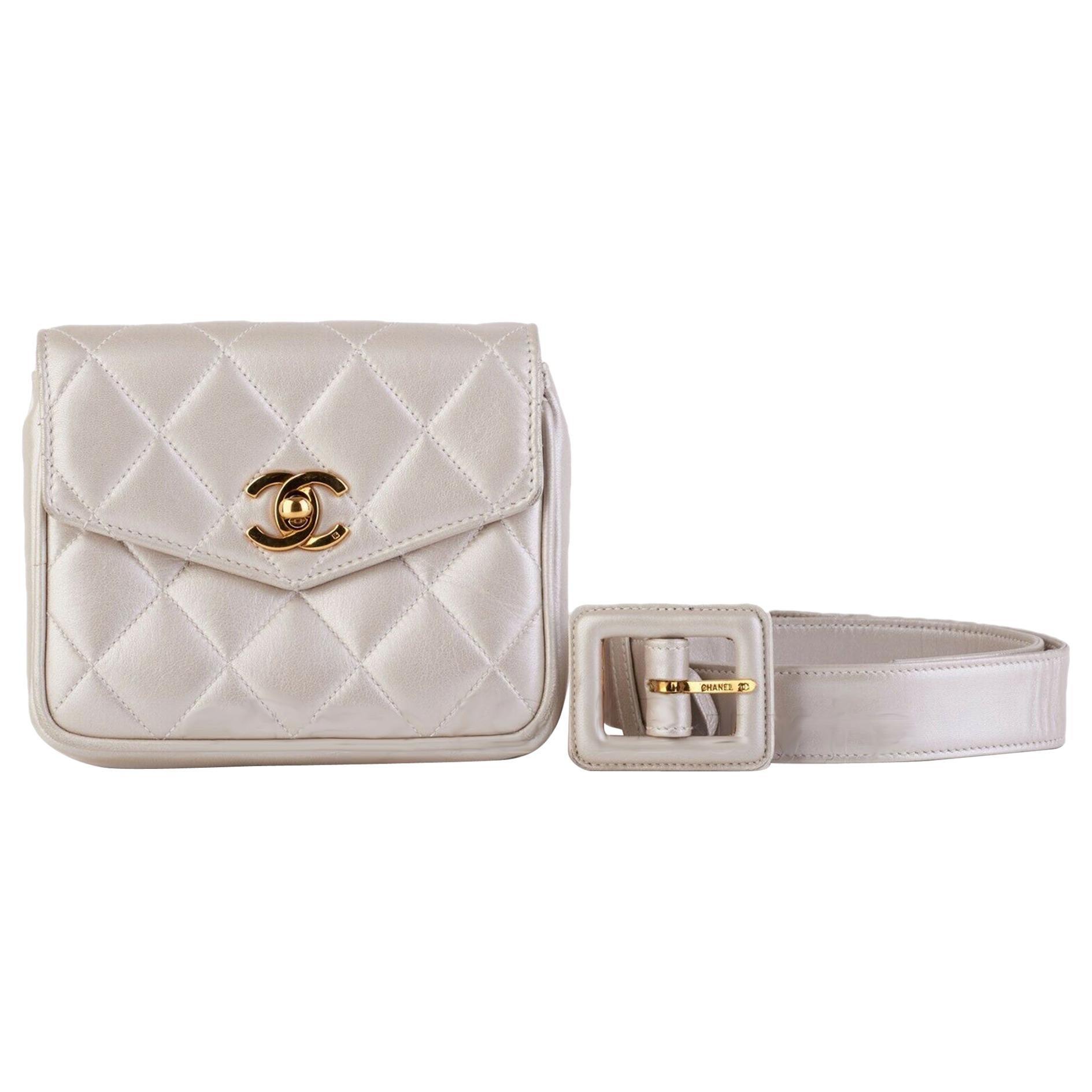 Chanel Rare Vintage Iridescent Champagne Pearl Mini Belt Bum Bag Fanny Pack
