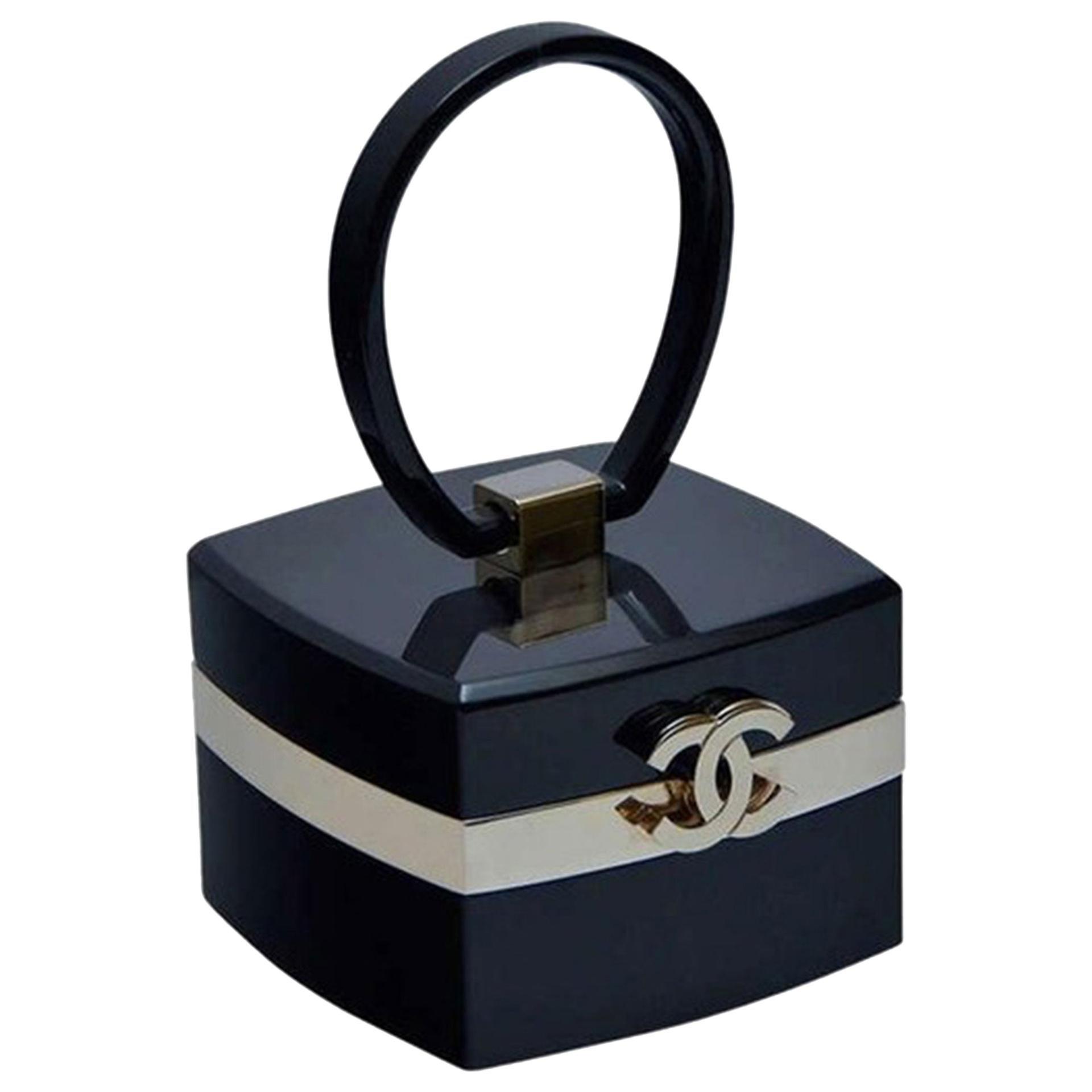 Chanel Rare Vintage Mini Trunk Vanity Case Minaudière Black Lucite Small Clutch