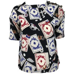 Chanel Rare Vintage Playing Cards Silk Blouse 1995