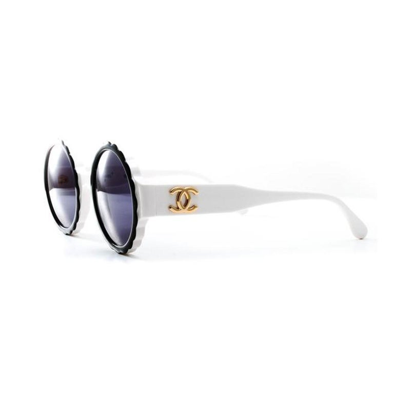 Chanel Rare White Vintage 90's Sunglasses For Sale 1
