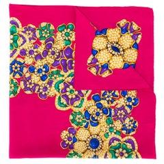 Chanel Raspberry Floral Silk Scarf
