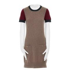 CHANEL Recent 100% cashmere brown short sleeve CC turnlock pocket dress FR36 S