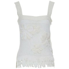 CHANEL Recent white cotton floral applique tweed fringe trimmed tank top FR36