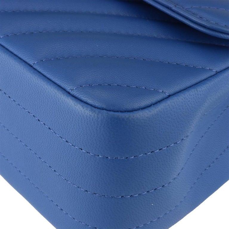 Chanel Rectangular Mini Bag Blue Chevron Lambskin With