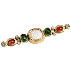 Chanel Red and Green Gripoix and Pearl Bar Pin