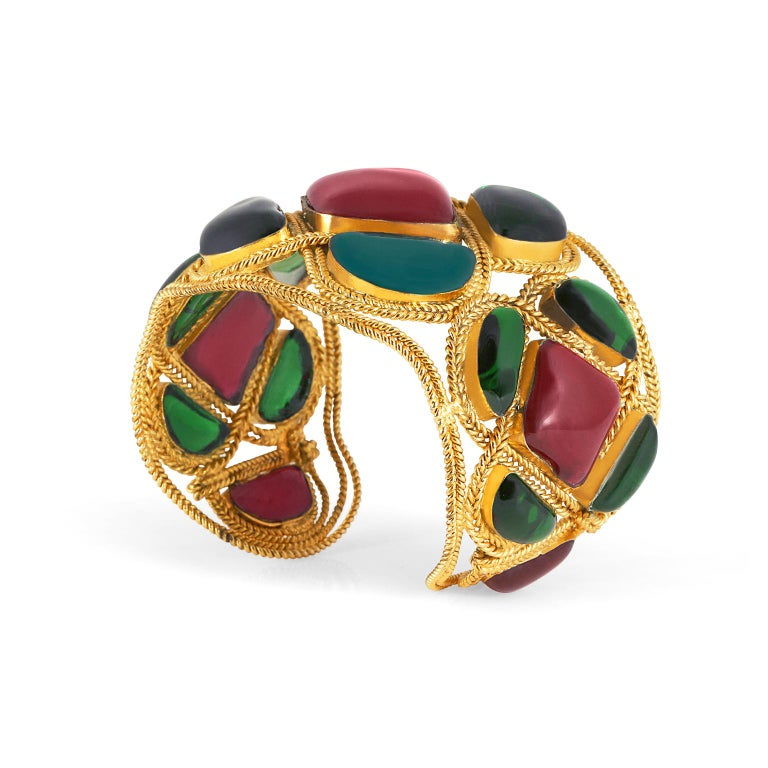 Women's Chanel Red and Green Gripoix Cuff For Sale