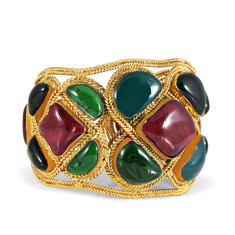 Chanel Red and Green Gripoix Cuff For Sale 1