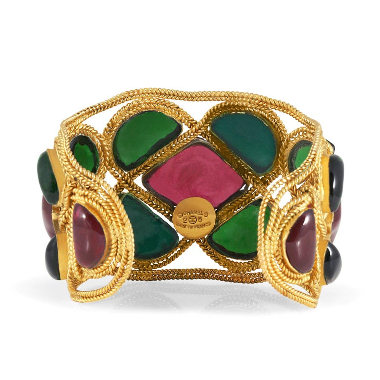 Chanel Red and Green Gripoix Cuff For Sale 2