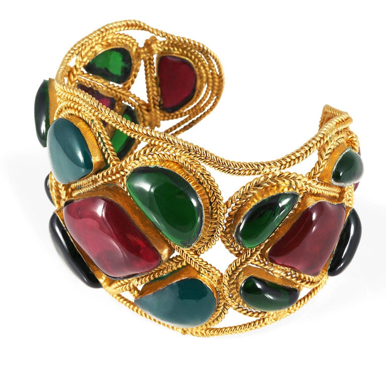 Chanel Red and Green Gripoix Cuff For Sale 4