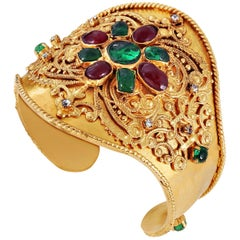 Chanel Red and Green Gripoix Gold Ornate Cuff
