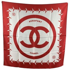 Chanel Red and White Aeroport Airline Silk Scarf CC Logo Print