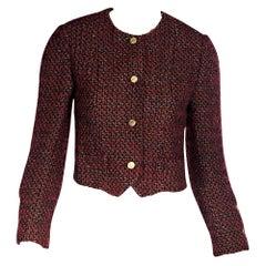 Chanel Red & Black Metallic Tweed Cropped Jacket