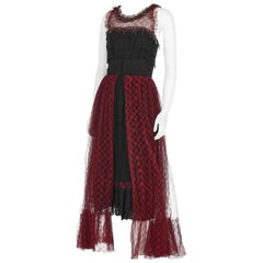 Chanel Red & Black Tartan Tulle Evening Gown w/Safety Pin Embellishment 2008