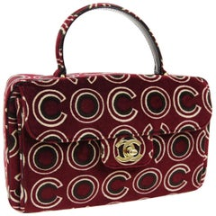 Chanel Red Black Velvet 'COCO' Kelly Style Evening Top Handle Satchel Flap Bag