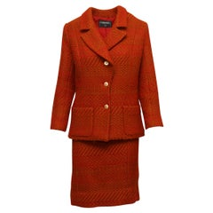 Chanel Red & Brown Textured Skirt Suit