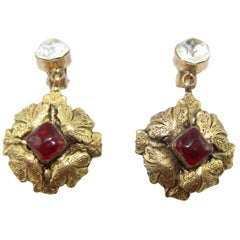 Chanel red byzantine vintage earrings 1983