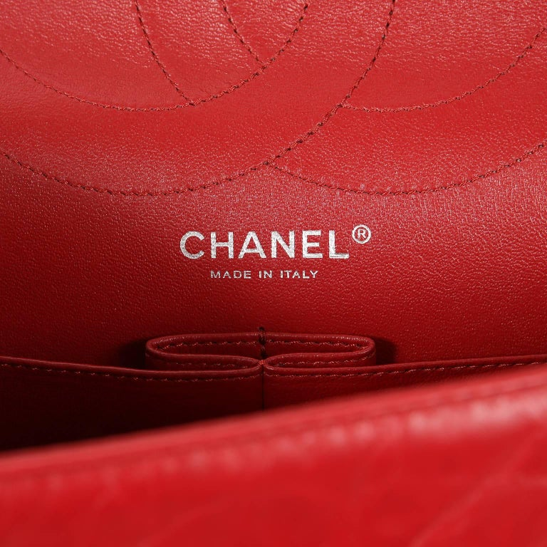 Chanel Red Calfskin 2.55 Reissue Flap Bag- 227 size 7